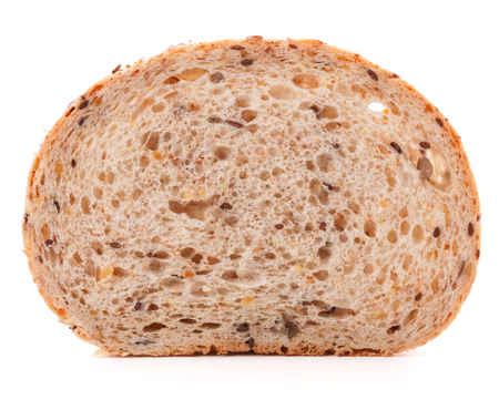 Slice of fresh white grained bread isolated on white background cutout photo