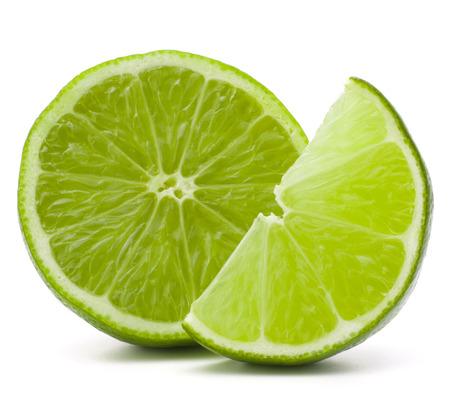 sweet segments: Citrus lime fruit isolated on white background cutout
