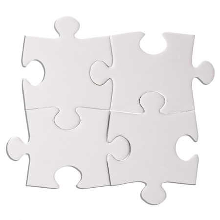 Four Puzzle pieces isolated on the white  background cutout photo