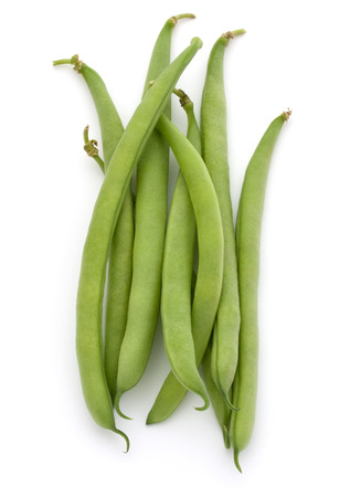 Green beans handful isolated on white background