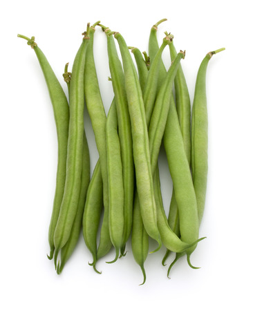 attacked: Green beans handful isolated on white background