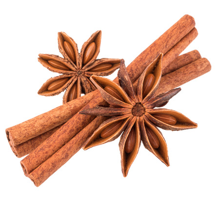 stick of cinnamon: cinnamon stick and star anise spice isolated on white background closeup
