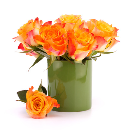 matherday: Orange rose bouquet in vase  isolated on white background cutout Stock Photo