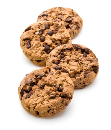chocolate chips cookies: Chocolate cookies isolated on white background cutout Stock Photo