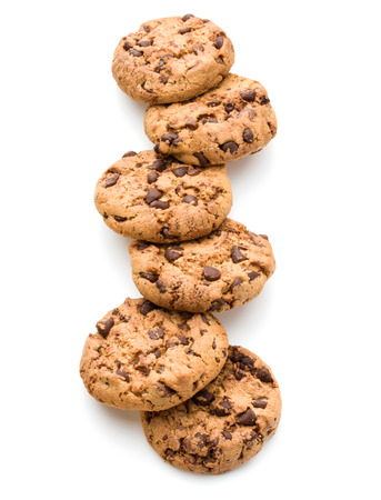 Chocolate cookies isolated on white background cutout Stock Photo