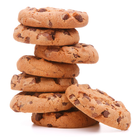 pastry: Chocolate homemade pastry cookies isolated on white background