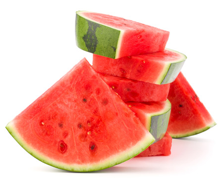 rind: Sliced ripe watermelon isolated on white background cutout