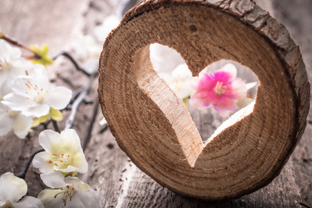 tallado en madera: Corazón de luz en el fondo de madera rústica