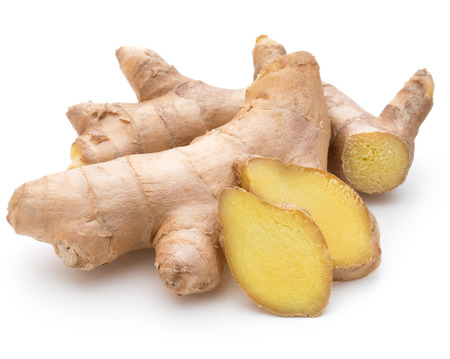 Fresh ginger root or rhizome isolated on white background cutout