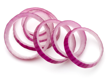 Sliced red onion rings isolated on white background cutout Archivio Fotografico