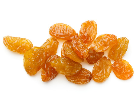 sultanas: Yellow sultanas raisins isolated on white background cutout