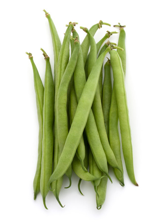 handful: Green beans handful isolated on white background cutout Stock Photo