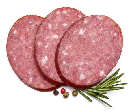 salami slices: Smoked sausage salami slices isolated on white background cutout