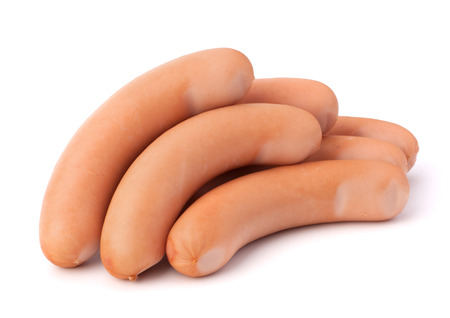 wienie: Frankfurter sausages isolated on white background Stock Photo