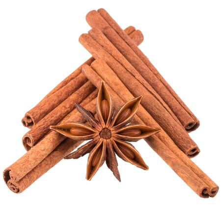 spice isolated: cinnamon sticks and star anise spice isolated on white background Stock Photo