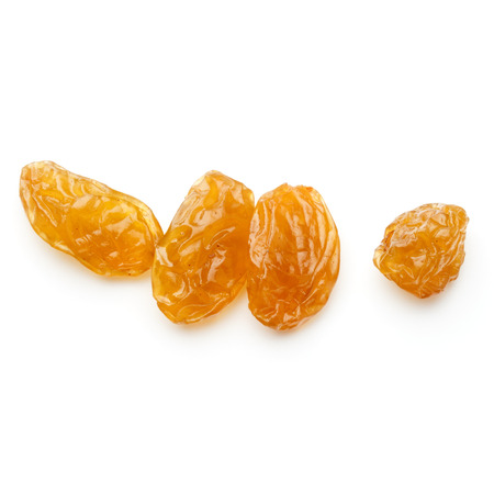 sultanas: Yellow sultanas raisins isolated on white background
