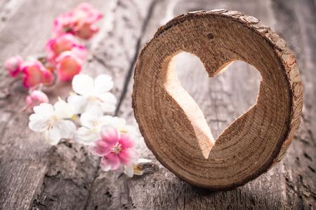 로맨스: 소박한 나무 배경에 밝은 마음