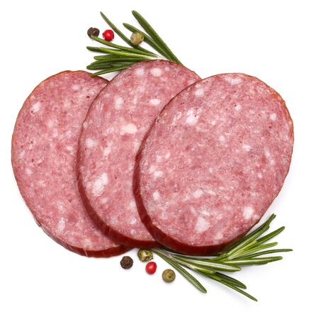 salami slices: Smoked sausage salami slices isolated on white background