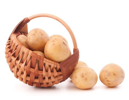 full willow: Potatoes in wicker basket isolated on white background