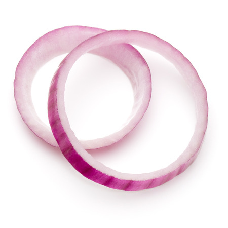Sliced red onion rings isolated on white background