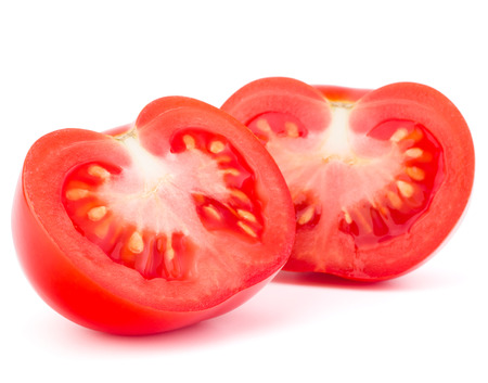 cantle: Tomato vegetable slices isolated on white background Stock Photo