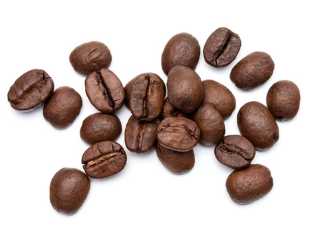 cofe: roasted coffee beans isolated in white background