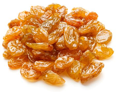 sultanas: Yellow sultanas raisins isolated on white background