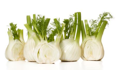 nature background: Fresh fennel bulb isolated on white background close up Stock Photo