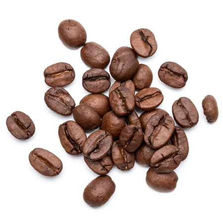 roasted coffee beans isolated in white background cutout