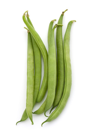 isolated on green: Green beans handful isolated on white background cutout Stock Photo