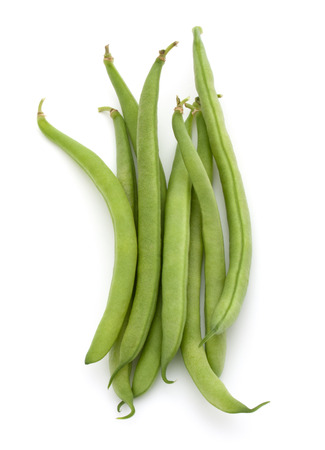 handful: Green beans handful isolated on white background