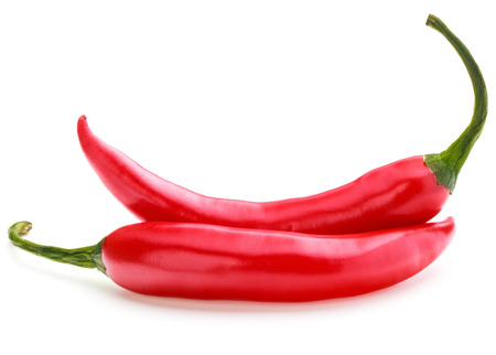 red chili or chill cayenne pepper isolated on white background