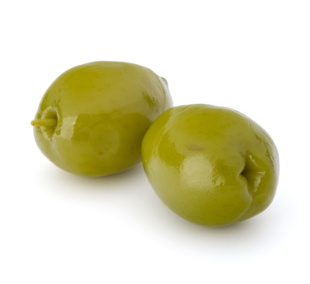 Green olives fruits isolated on white background cutout Stock Photo