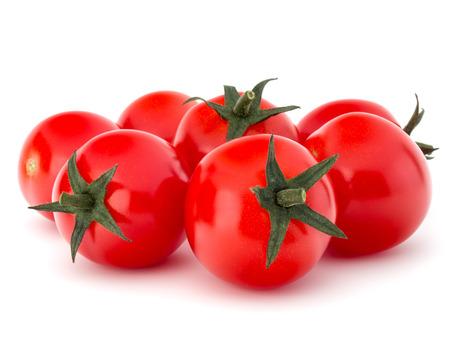 tomates: tomate cereza fresca aislada en el recorte de fondo blanco Foto de archivo