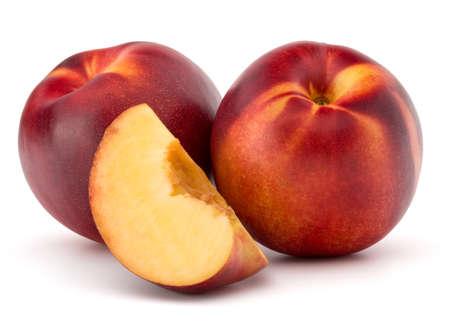 velvety: Nectarine fruit isolated on white background close up Stock Photo