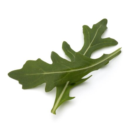 rukola: Sweet rucola salad or rocket lettuce leaves isolated on white background Stock Photo