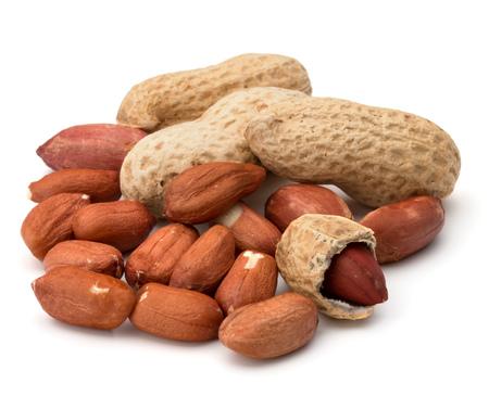 groundnut: Opened and whole peanut or groundnut pod isolated on white background close up