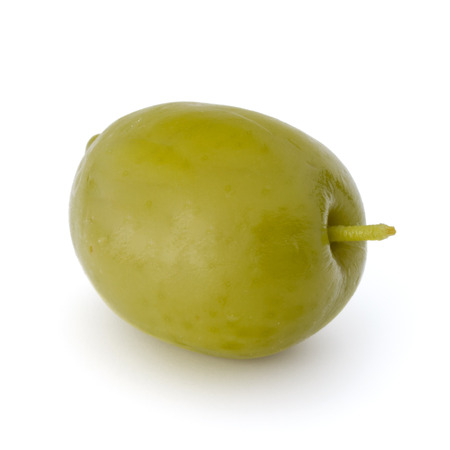 olive green: Green olive fruit isolated on white background cutout Stock Photo