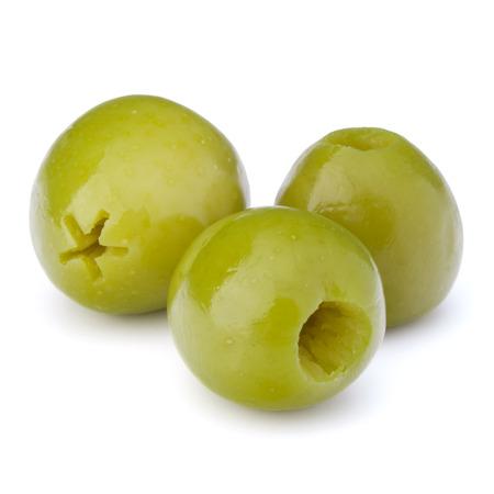 oliva: Green olives fruits isolated on white background cutout