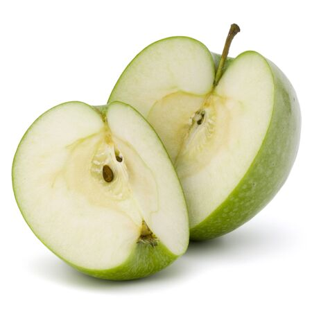 sliced apple: Green sliced apple isolated on white background cutout