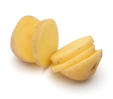 russet potato: potato tuber slices  isolated on white background cutout Stock Photo