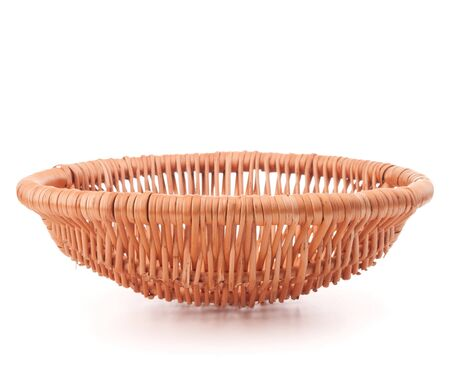 full willow: Potato tuber  in wicker basket isolated on white background