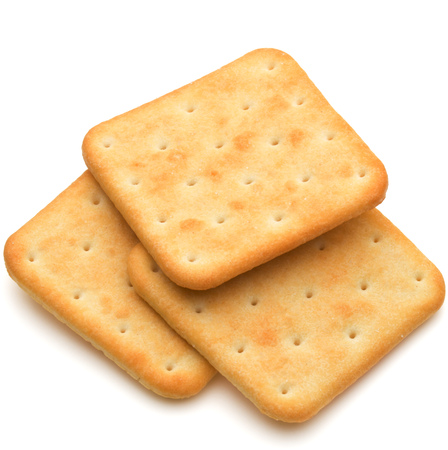 ration: Dry cracker cookies isolated on white background cutout Stock Photo