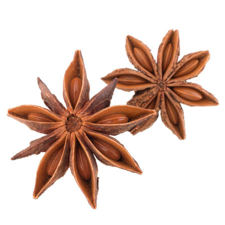spice isolated: star anise spice isolated on white background closeup Stock Photo