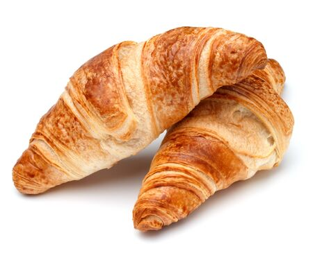 Croissant or  crescent roll isolated on white background cutout Stock Photo
