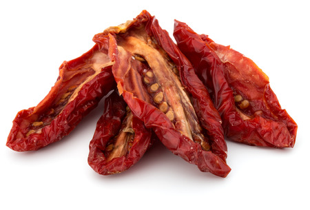 Dried tomatoes isolated on white background cutout Stock Photo