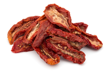 legumbres secas: Dried tomatoes isolated on white background cutout Foto de archivo