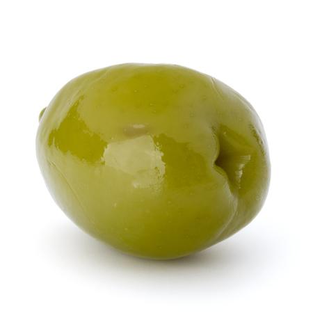 oliva: Green olive fruit isolated on white background cutout Stock Photo