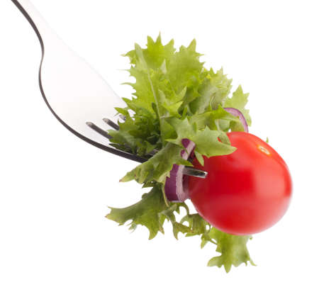 forked: Fresh salad and cherry tomato on fork isolated on white background cutout. Healthy eating concept.