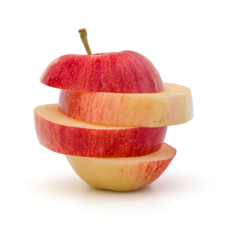 sliced apple: Red sliced apple isolated on white background cutout
